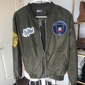 Shein Olive Green Army Bomber